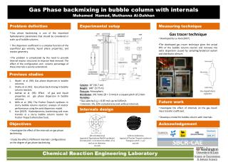 Gas Phase backmixing in bubble column with internals Mohamed  Hamed,  Muthanna  Al- Dahhan