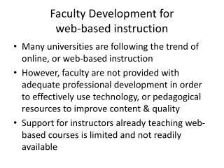 Faculty Development for  web-based instruction