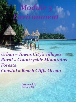 Urban = Towns City's villages Rural = Countryside Mountains Forests