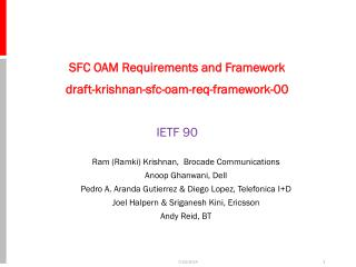 SFC  OAM Requirements and Framework draft-krishnan-sfc-oam-req-framework-00 IETF 90