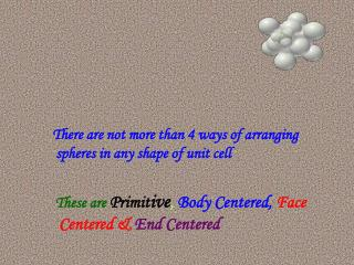 There are not more than 4 ways of arranging spheres in any shape of unit cell