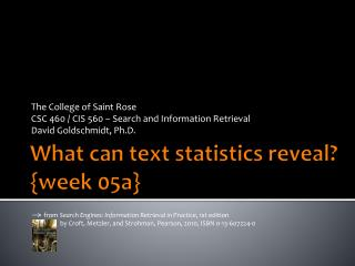 What can text statistics reveal? { week  05a}