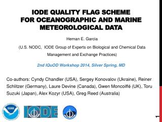 IODE QUALITY flag  scheme  FOR oceanographic  and marine meteorological  data