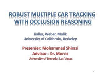 Robust Multiple Car Tracking  with occlusion reasoning