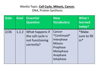 Weekly Topic:  Cell Cycle, Mitosis, Cancer ,  DNA, Protein Synthesis