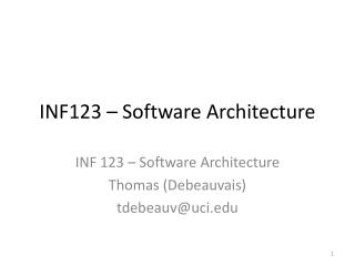 INF123 – Software Architecture