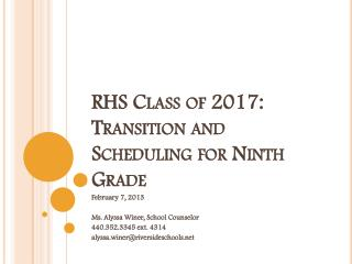 RHS Class of 2017: Transition and Scheduling for Ninth Grade