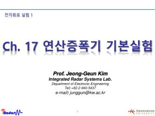 Prof .  Jeong-Geun Kim Integrated Radar Systems Lab . Department of Electronic Engineering