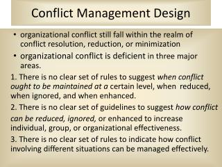 Conflict Management Design
