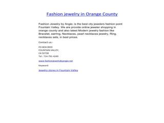 Fashion Jewelry in Orange County