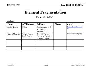 Element Fragmentation