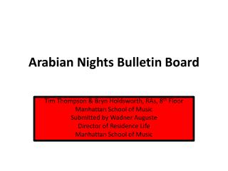 Arabian Nights  B ulletin Board