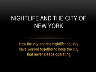 Nightlife and the City of New York