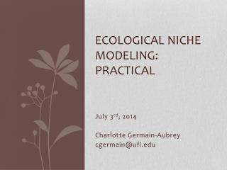 Ecological Niche  Modeling :  practical