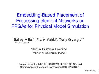 Embedding-Based Placement of Processing element Networks on FPGAs for Physical Model Simulation