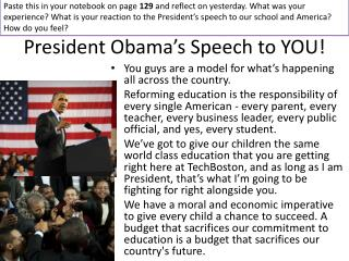 President Obama's Speech to YOU!