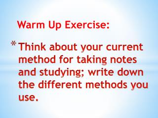 Warm Up Exercise: