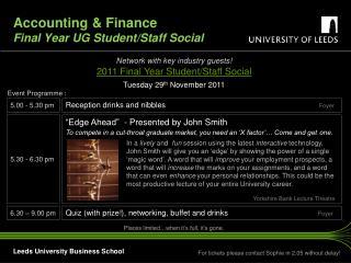 Accounting & Finance  Final Year UG Student/Staff Social