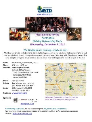 Please join us for the  ASTD-RMC  Holiday Networking Party Wednesday, December 5, 2012