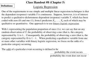 Class Handout #8 (Chapter 5)