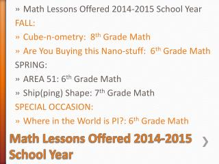 Math Lessons Offered 2014-2015 School  Year