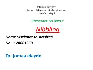 Islamic university  industrial department of engineering manufacturing 2