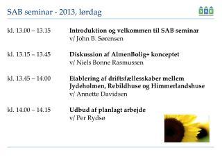 SAB seminar -  2013,  lørdag