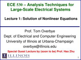 ECE  530  – Analysis Techniques for Large-Scale Electrical Systems