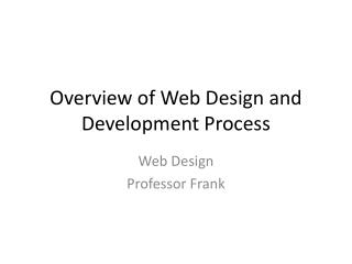 Overview of Web Design and Development Process