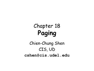 Chapter 18 Paging