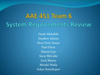 AAE 451 Team 6 System Requirements Review
