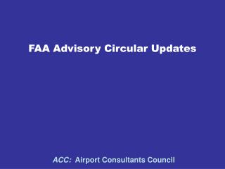 FAA Advisory Circular Updates