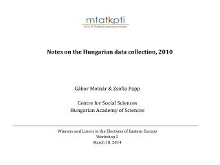 Notes on the Hungarian data collection, 2010