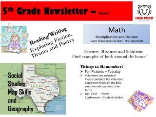 5 th  Grade Newsletter –  9-23-13