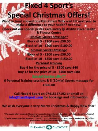 Fixed 4 Sport's  Special Christmas Offers!