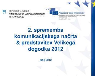 2. sprememba komunikacijskega načrta & predstavitev Velikega dogodka 2012 junij 2012