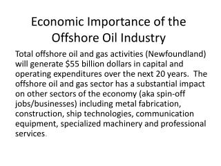 Economic Importance of the Offshore Oil Industry