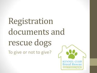 Registration  documents and rescue dogs