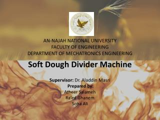 AN-NAJAH NATIONAL UNIVERSITY FACULTY OF ENGINEERING DEPARTMENT OF MECHATRONICS ENGINEERING