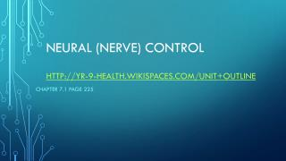 Neural (nerve)  Control yr-9-health.wikispaces/Unit+Outline
