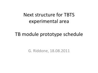 Next structure for TBTS  experimental area  TB module prototype schedule