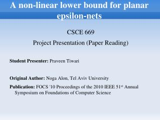 A non-linear lower bound for planar epsilon-nets