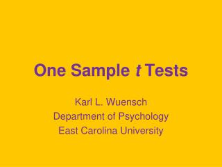 One Sample  t  Tests