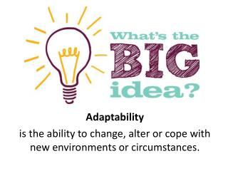 Adaptability is  the ability to change, alter or cope with new environments or circumstances.