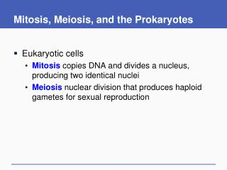 Mitosis, Meiosis, and the Prokaryotes