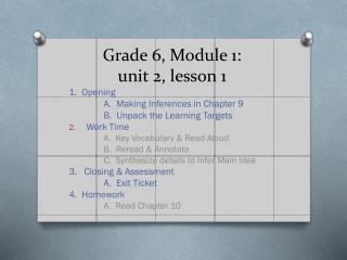 Grade 6, Module 1: unit 2, lesson 1