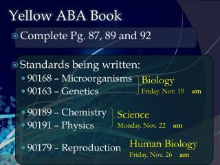 Yellow ABA Book