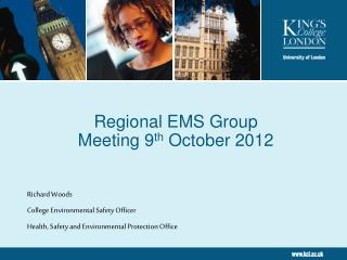 Regional EMS Group  Meeting 9 th  October 2012