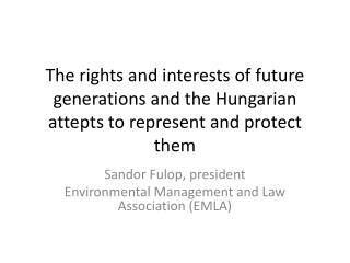 Sandor Fulop , president Environmental Management and Law Association (EMLA)