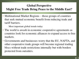 Global Perspective Might Free Trade Bring Peace to the Middle East?